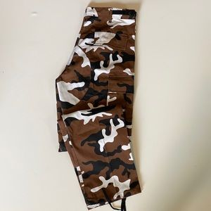 Vintage Brown Camo Button Fly Straight Leg Pants